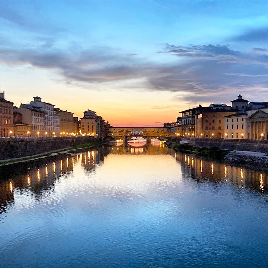 Living in Florence, Italy :: Sunset from Ponte alle Grazie